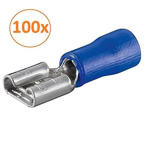 Pack de 100 Unidades de Terminales Faston Hembra (16-14 AWG), Aislante Color Azul, Sección Cable 1-2,5 mm2
