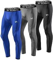 MEETYOO Leggings Hombre, Pantalón de Compresión Secado Rápido Pantalones Deporte Mallas Largas para Running Fitness Yoga
