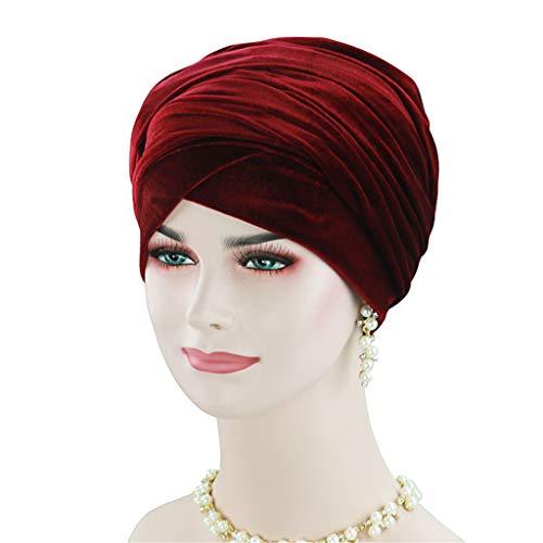 DOLDOA Hut Damen Sommer,Fashion Hair Loss Beanies Kopfwickel Schal Cancer Chemo Cap (Weinrot)