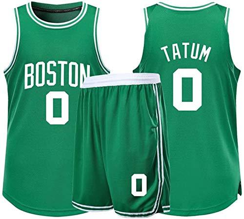 XSJY Herren-Basketball-Trikots Set - NBA Boston Celtics # 0 Jayson Tatum Erwachsene Kinder Unisex Breath Basketball-Kleidung Stellte Sport,Grün,4XL:180~185CM