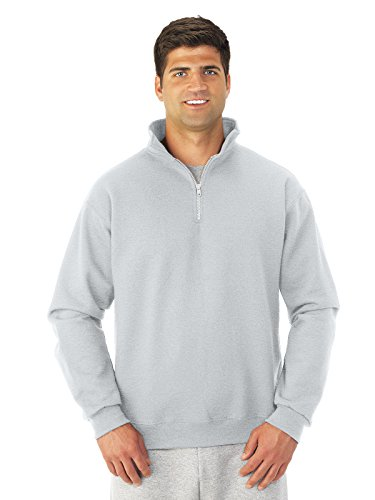 JERZEES Mens SUPER SWEATS 1/4-Zip Sweatshirt with Cadet Collar, Large, Ash