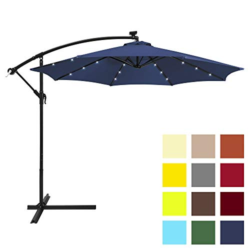 Best Choice Products 10ft Solar LED Offset Hanging Market Patio Umbrella w/Easy Tilt Adjustment, Polyester Shade, 8 Ribs for Backyard, Poolside - Navy Blue
