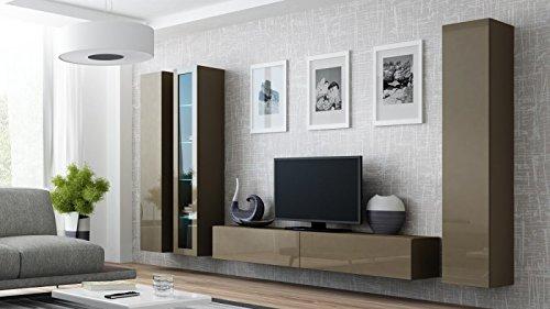 Jadella Wohnwand Anbau Wand Fernsehschrank Hängeschrank Regal Hochglanz Matt Wohnzimmer, Farbe:Latte