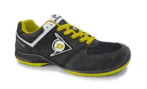 Dunlop DL0201038-43 Zapato, Piel de Ante y Mesh, Negro y Amarillo, 43