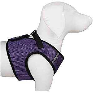 The Worthy Dog Step-in Sidekick Harness with Padded Mesh Velcro Adjustable, Outdoor, Easy Walk Vest Fits Small, Medium and Large Dogs-Purple