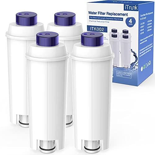 iTrunk Wasserfilter für Kaffeemaschinen DLSC002, Schnell Einzubauende Wasserfilter Kartusche mit Aktivkohle Kaffeemaschinenfilter, Ersatz für ECAM, Esam, ETAM, BCO, EC (4er-Packung)