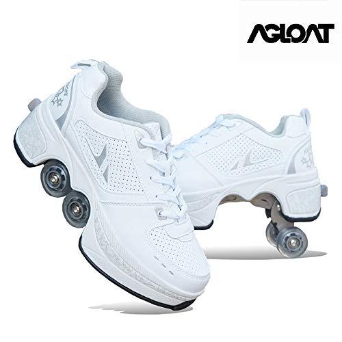 duvetset Roller Skates Damen Inline Skates Mädchen,Roller Skates Verstellbar Sneakers 2-in-1 Mehrzweck-Schuhe Unisexe Skates,Weißes-EU40