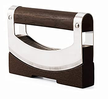 Legnoart Dondola Stainless Steel and Wood Mezzaluna Chopper/Mincer with Rocky Knife Brown