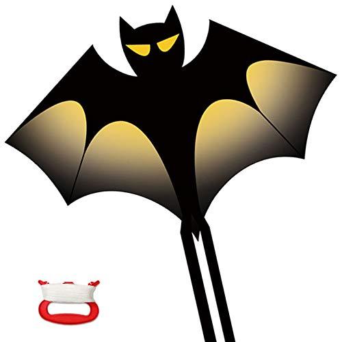 Gran cometa de murciélagos para niños, adultos, fácil de volar, juegos de playa al aire libre, bolsa de regalo con asa de cometas y cuerda, fácil de montar y transportar