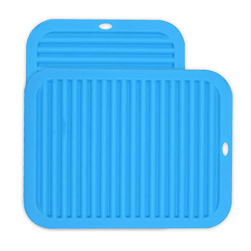Silicone Heat Resistant Mat, 9  x 12  Trivet Mat for Hot Dish and Pot, Ribbed Design Non-Slip Counter Mat Protector Dishwasher Safe for Kitchen Countertops, Table, Sinks Drying Mats (Blue)