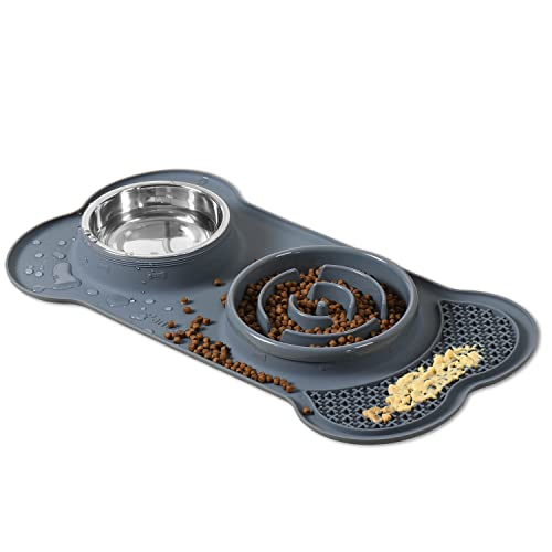 PANZZDA Slow Feeder Dog Bowls with Lick Mat, No Spill No Skid Interactive Bloat Stop Durable No Choking Healthy Design Pet Food Puzzle and Water Bowl Set for Puppy Small Medium Size Dogs