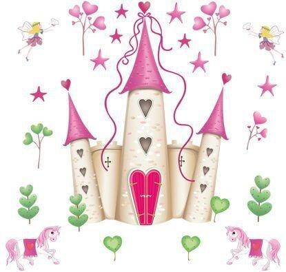 NIGU Pegatinas de pared para niños DF5083 pegatinas de pared de dormitorio extraíble rosa princesa castillo niña habitación torre pegatina para niñas/niños/niños dormitorio mural de pared