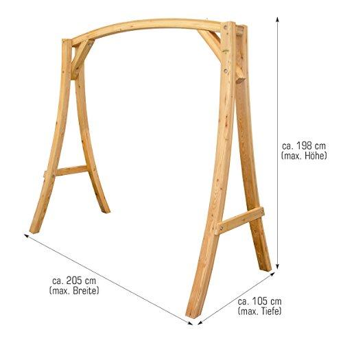 Hollywoodschaukel aus Holz Lärche Gartenschaukel Set Holzgestell mit 3-sitzer Holzbank Für Innen und Außen - 4