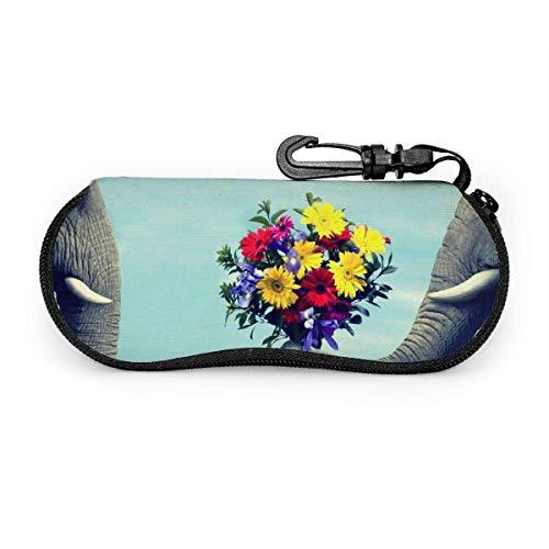 Carneg Gafas de sol de flores de elefante lindas portátiles con hebilla de bloqueo Bolsa suave Funda de gafas con cremallera de tela de buceo ultraligera