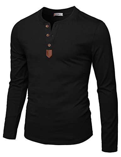 H2H Mens Casual Slim Fit Basic Henley Long Sleeve T-Shirt Black US L/Asia XL (CMTTL0103)