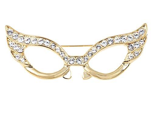 Alilang Glasses Brooch Pin Clear Crystal Rhinestones Rectangle Nerdy Cat Eye Mask Pin