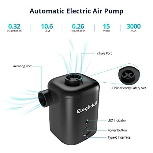 Bomba de Aire Eléctrica, Inflador Electrico Recargable USB-C, Hinchador Electrico con 4 Boquillas, 2 en 1 para Inflar Desinflar, Camping o Colchón hinchable, Juguete, Piscina Hinchable