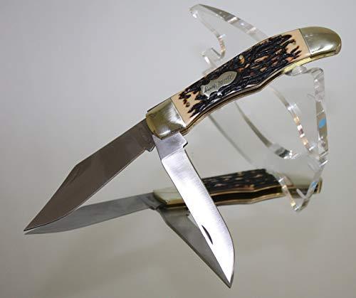Uncle Henry Folding Knife w-Leather Sheath. 7Cr17MoV Steel.