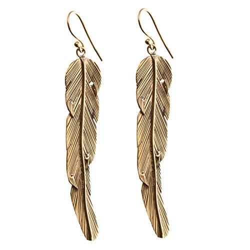 81stgeneration Women's Brass Gold Tone Ethnic Feather Long Dangle Earrings