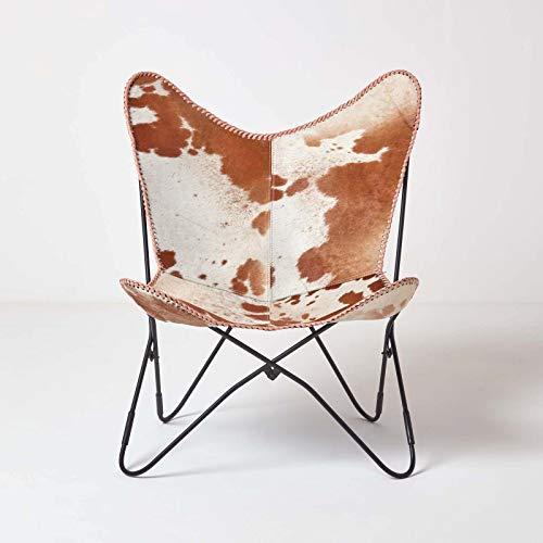 Homescapes Butterfly Chair Design Kuhfell Schmetterlingsessel braun Retro Loungesessel, Vintage Relaxstuhl aus Echtleder, Butterfly Stuhl mit Rückenlehne, Lederstuhl, 49 cm Sitzhöhe