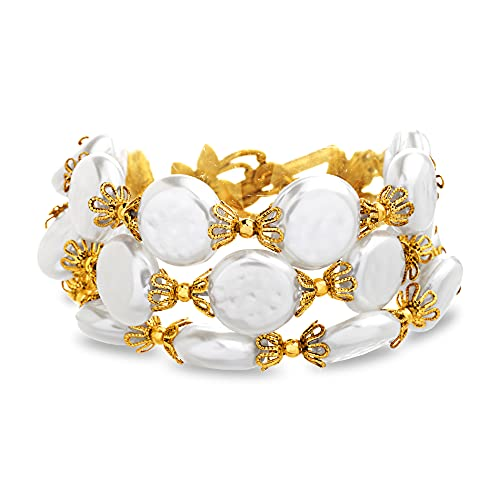 Badgley Mischka Three Row Connected Simulated Pearl Toggle Bracelet for Women 7 Inches