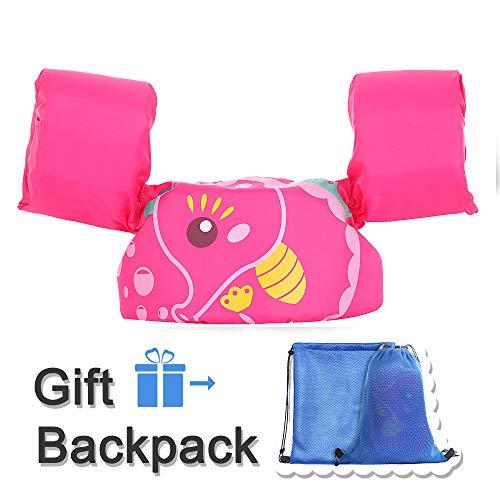 Kid Toddler Swim Vest Life Jacket Vest Kid Floaties Vest TEWENE with Adjustable Chest Strap and Storage Bag Suitable for 22-66 lbs/Beach/Pool/Ocean (Pink Hippocampi)