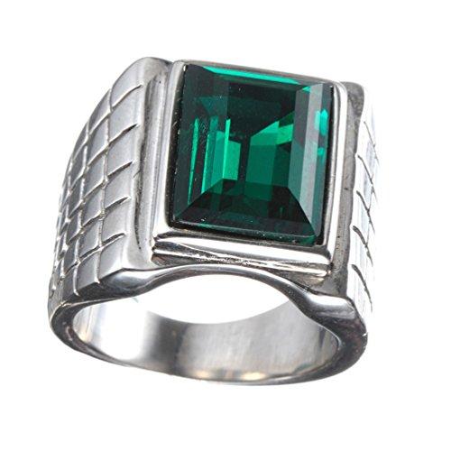 PAURO Hombres de Acero Inoxidable Simple Promesa de la Boda y el Compromiso Punk Anillo con Gran Verde Diamante Plata Tamaño 27