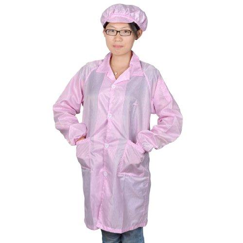 Femme rose Patch à manches longues poches anti statique globale robe Coat L