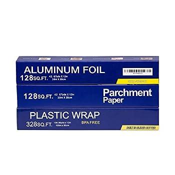 Baking Parchment Paper 128 SQ FT Standard Aluminum Foil Paper 128 SQ FT Quick Cut Plastic Food Wrap 328 SQ FT 3 Packs