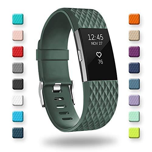Adepoy Kompatabel mit Fitbit Charge 2 Armband, Verstellbare Weiches Silikon Sport Ersatzarmband für Charge 2 (Grün, Groß)
