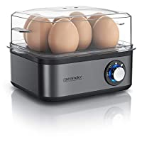 arendo - Cuociuova in Acciaio Inox da 1 a 8 Uova - Fornello per Uova – Cuoci Uova da 500 W - Tre Gradi di durezza alla Coque, barzotto, sodo - Lavabile in lavastoviglie