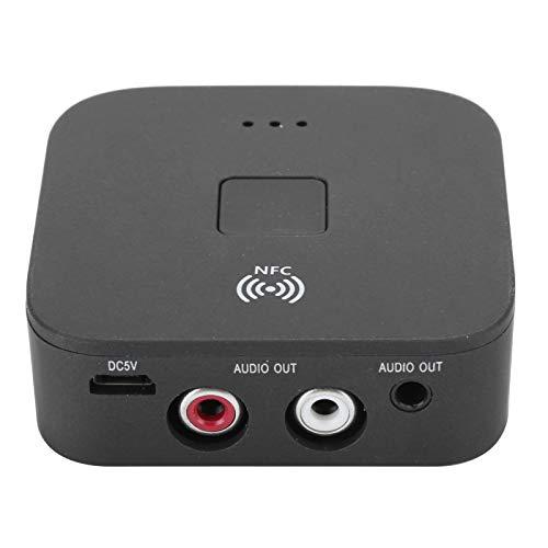 Dilwe Receptor Bluetooth 5.0 RCA, Adaptador inalámbrico Jack AUX de 3.5 mm, Receptor de Audio NFC Sonido HiFi con reducción de Ruido para TV/automóvil/PC