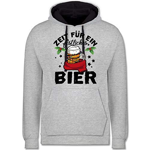 Weihnachten & Silvester - Zeit für EIN festliches Bier - schwarz - XS - Grau meliert/Navy Blau - Spruch - JH003 - Hoodie zweifarbig und Kapuzenpullover für Herren und Damen
