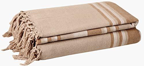 EHC 377 x 250 cm, Baumwolle, gestreift, sehr groß, 4 oder 5-Sitzer-Sofa/Super-King-Size-Bett/Überwurf braun
