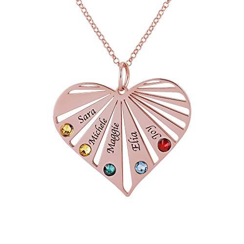 Herz Familienname Halskette mit 8 Birthstone Personalisiert Graviert mit 8 Namen Mütter Namenskette für Oma Frau 925 Sterling Silber Rosegold, Rolo Kette