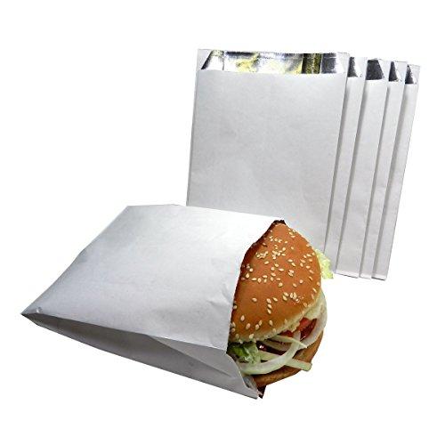 Regency Wraps RW0056-25 sacos de hambúrguer com forro de alumínio para manter o calor 25 ct, 14 x 19 cm, branco