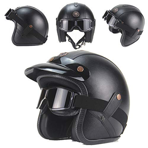 Motocross Helm,Adult Off Road Helm Halbhelme mit Brille,PU-Leder Retro Oldtimer Motorradhelm Herren Cross Schutzhelm ATV Mtb Scooter Helm für Männer Sicherheit Schutz - ECE-geprüft,Black2,L