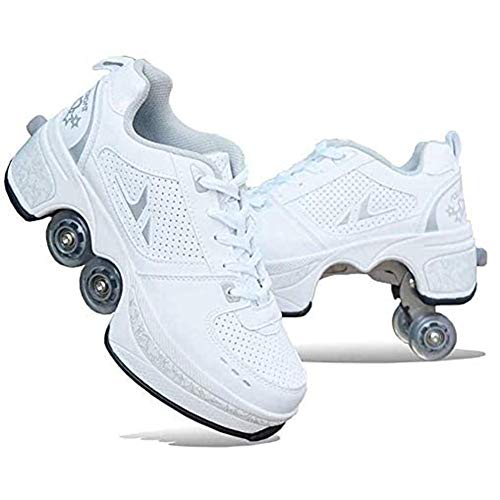 Automatic Walking Shoes Invisible Deformation Roller Shoes with Double-Row Wheel Skateboarding Shoes Multifunction Sports Shoes Sneakers for Unisex Beginners Gift