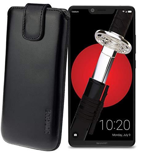Suncase Original Etui Tasche für Sharp Aquos D10 *Lasche mit Rückzugfunktion* Handytasche Ledertasche Schutzhülle Hülle Hülle in schwarz