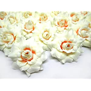 (24) Silk Cream Roses Flower Head – 1.75″ – Artificial Flowers Heads Fabric Floral Supplies Wholesale Lot for Wedding Flowers Accessories Make Bridal Hair Clips Headbands Dress