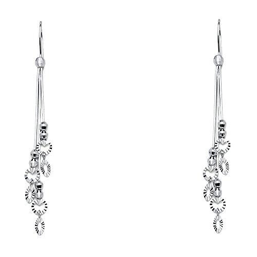 14k White Gold Dangle Earrings (70 x 8 mm)