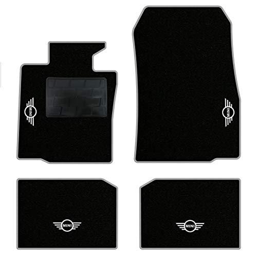 QUEMAR Kit Tappetini Auto Mini Countryman R60 e Paceman R61 / Set di Tappeti in Moquette e Gomma su Misura (2 Anteriori + 2 Posteriori) / 4 Ricami Personalizzati/Colori Personalizzabili (Bordo Perla)