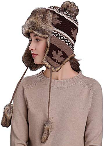 BigForest Damen Mädchen Russische Earflap Mütze Peruanische Beanie Strickmütze Schnee Ski Trapper Uschanka Hut Gr. Einheitsgröße, B Kaffee