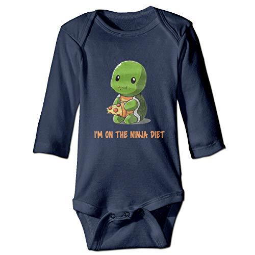 Turtles I'm On The Ninja Diet Baby Long Sleeve Onesies Soft Romper Bodysuit Outfits Navy