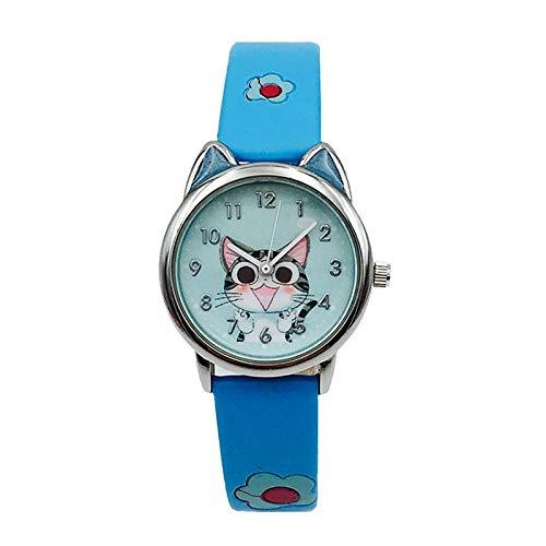 SYWY Lindo Queso Gato patrón niños Reloj de Cuarzo analógico analógico Relojes para niños niñas Estudiante Reloj Regalo relogio Feminino (Color : Blue)