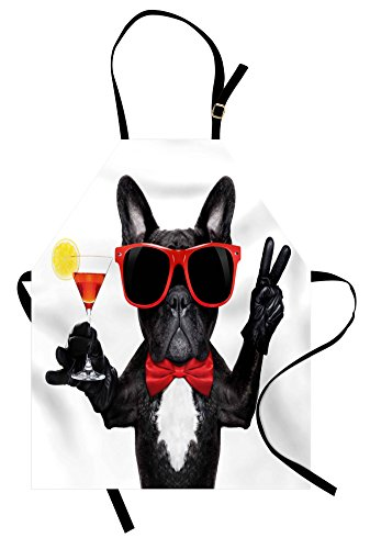 Lunarable Funny Apron, French Bulldog Holding Martini Cocktail Ready for The Party Nightlife Joy Print, Unisex Kitchen Bib with Adjustable Neck for Cooking Gardening, Adult Size, Black Red