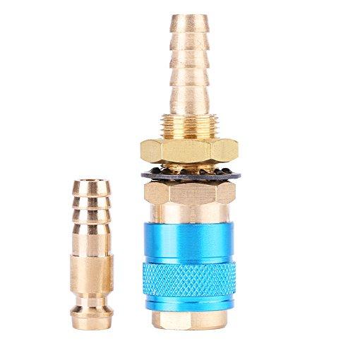 Akozon Wassergekühlter & Gasadapter Schnellschlauchanschlussstück Wassergekühlter Gasadapter Schnellverbinder Passend Schnelle Trennschalter für MIG TIG Welder Torch (Blau)