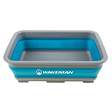 Wakeman 10L Collapsible Portable Camping Wash Basin - Blue