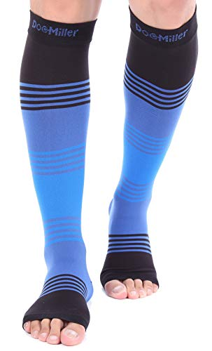 Doc Miller Premium Open Toe Compression Sleeve Dress Series 1 Pair 20-30mmHg Strong Support Graduated Sock Pressure Sports Running Recovery Shin Splints Varicose Veins (BlackBlueBlue, Medium)