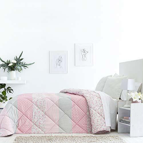 Barceló Hogar - Edredon Comforter Reversible Eva, Color Único, Cama 90 cm, Medida 180x270 cm, Edredón Estampado Flores, Esquinas Redondas